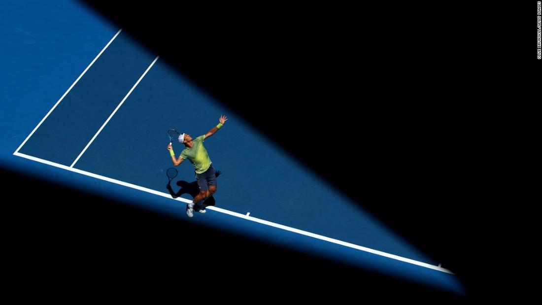 Tomas Berdych of the Czech Republic serves in his fourth round match against Fabio Fognini of Italy on Day 8 of the 2018 Australian Open at Melbourne Park on Monday, January 22, in Melbourne, Australia.