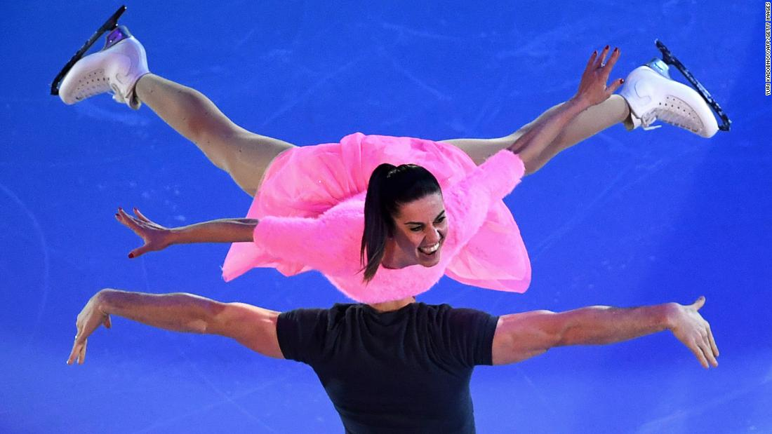 Italy's Valentina Marchei and Ondrej Hotarek perform during the Gala Exhibition at the ISU European Figure Skating Championships in Moscow on Sunday, January 21.<br />
