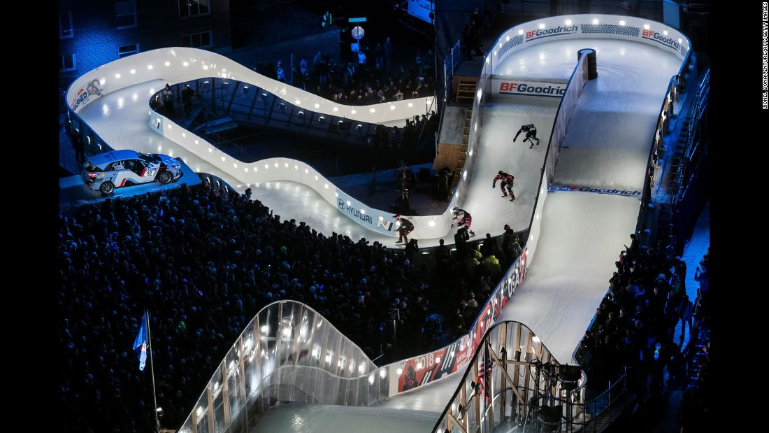 "Ice skaters compete during the ""Redbull Crashed Ice,"" the Ice Cross Downhill World Championship, in Saint Paul, Minnesota, on Saturday, January 20.<br />"