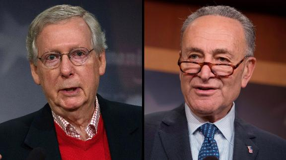 US Senate Majority Leader Sen. Mitch McConnell (left) and Senate Minority Leader Chuck Schumer (Right)