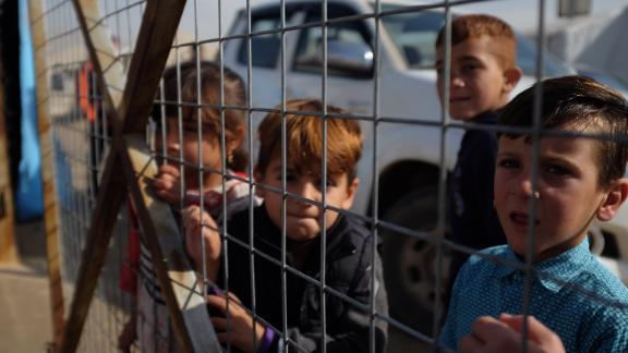 Yazidi children at a refugee camp in Dohuk, Iraq