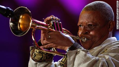 South African trumpeter Hugh Masekela performs on stage during the FIFA World Cup Kick-off Celebration Concert in June 2010 in Johannesburg, South Africa.