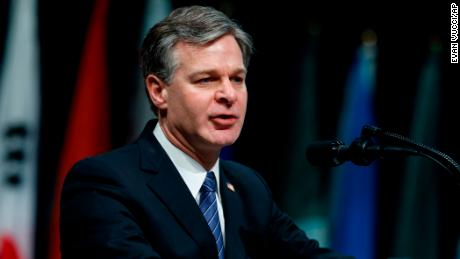FBI Director Christopher Wray speaks during the FBI National Academy graduation ceremony, Friday, Dec. 15, 2017, in Quantico, Virginia.