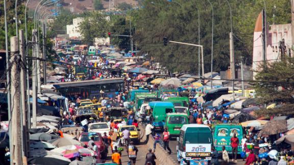 Bustling streets of Bamako, Mali.