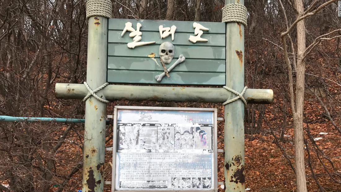 A sign on Silmido has a recreation of the infamous skull and crossbones that was erected at the original training grounds in the late 1960s.