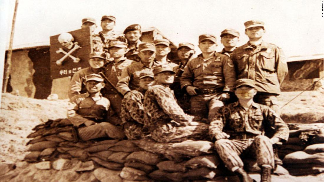 A photo of the Unit 684 trainers on Silmido. Yang Dong-soo is seated in the middle. Eighteen of the trainers died when Unit 684 muntineed on August 23, 1971. Yang barely survived after being shot in the neck.