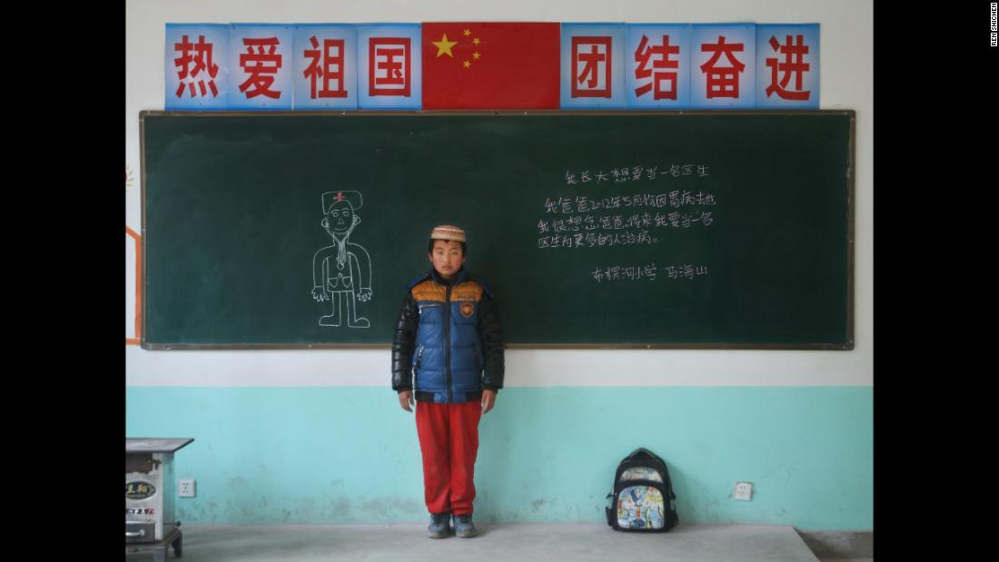 "Ma Haishan, Bulengou elementary school,  Gansu. ""I want to be a doctor when I grow up. My dad passed away because of stomach issue in May, 2012. I miss dad very much. I want to be a doctor to treat more people in the future."""