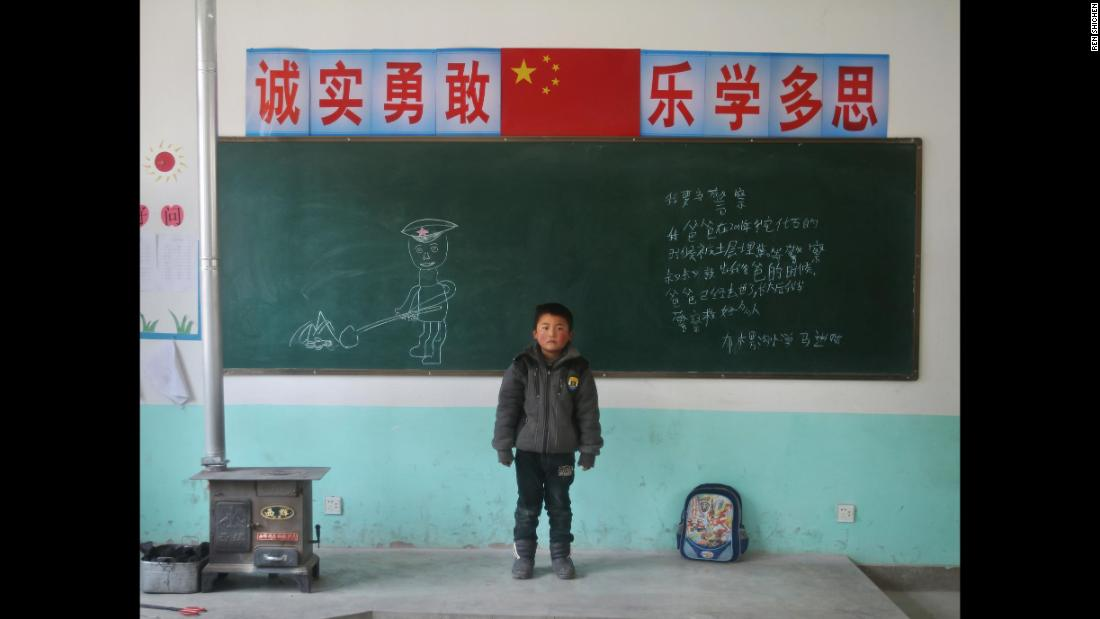 "Ma Jincai, 7, Bulenggou Elementary School, Gansu. ""I want to be a policeman. My dad was buried in 2011 when he was digging coal.""<br />"