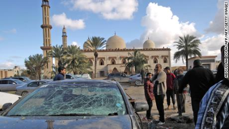 The aftermath of two explosions outside a mosque in Benghazi, Libya.