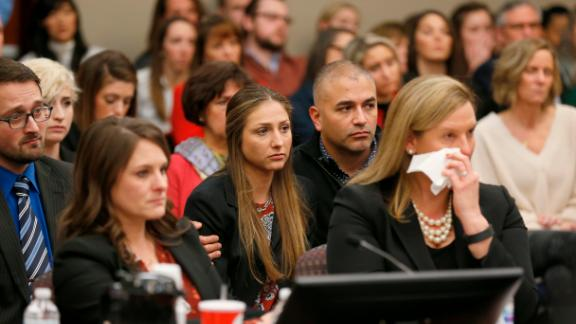 People react as former Michigan State University and USA Gymnastics doctor Larry Nassar listens to impact statements during the sentencing phase in Ingham County Circuit Court on January 24, 2018 in Lansing, Michigan.