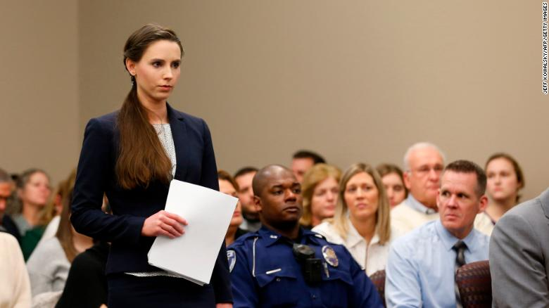 Rachael Denhollander prepares to give her impact statement at Larry Nassar's sentencing.