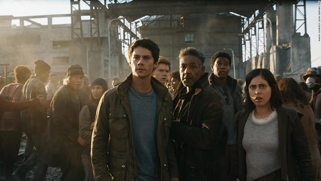 """Maze Runner: The Death Cure,"" the third and final Maze runner movie, is a 2018 American dystopian sci-fi action movie starring Dylan O'Brien, Thomas Brodie-Sangster and Kaya Scodelario. O'Brien is a young man who fights to survive in a dystopian world with his friends.<br />"