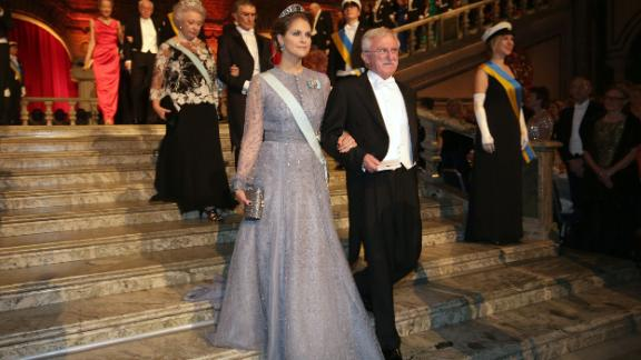 """Modrich arrives with Sweden's Princess Madeleine at the Nobel Banquet in 2015. The STS 1964 alumni won his<a href=""""https://www.nobelprize.org/nobel_prizes/chemistry/laureates/2015/modrich-facts.html"""" target=""""_blank"""" target=""""_blank""""> Nobel Prize in Chemistry</a> """"for mechanistic studies of DNA repair,"""" shedding light on the causes of cancer and how we age."""
