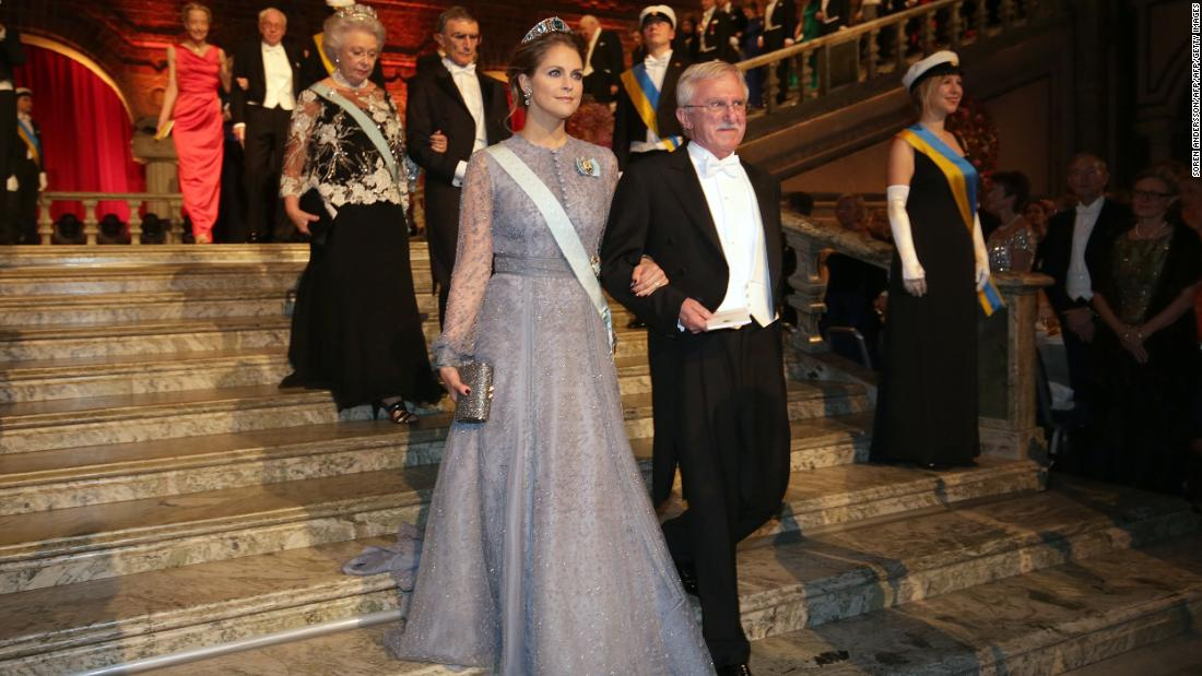 "Modrich arrives with Sweden's Princess Madeleine at the Nobel Banquet in 2015. The STS 1964 alumni won his<a href=""https://www.nobelprize.org/nobel_prizes/chemistry/laureates/2015/modrich-facts.html"" target=""_blank""> Nobel Prize in Chemistry</a> ""for mechanistic studies of DNA repair,"" shedding light on the causes of cancer and how we age."