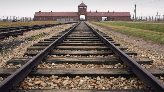 The railway tracks leading to the main gates at Auschwitz-Birkenau.