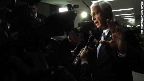 "Sen. Ron Johnson (R-WI), chairman of the Homeland Security and Governmental Affairs Committee, answers questions from the press after attending a Senate Budget Committee hearing January 24, 2018 in Washington, DC. Johnson has said an informant has told Congress that a ""secret society"" exists within the FBI and has alleged ""corruption at the highest levels of the FBI."""