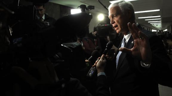 """Sen. Ron Johnson (R-WI), chairman of the Homeland Security and Governmental Affairs Committee, answers questions from the press after attending a Senate Budget Committee hearing January 24, 2018 in Washington, DC. Johnson has said an informant has told Congress that a """"secret society"""" exists within the FBI and has alleged """"corruption at the highest levels of the FBI."""""""