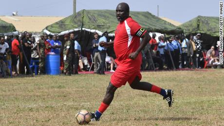 Liberia's president has dusted of his boots before. Here he is playing a friendly football match between Weah All Stars team and Armed Forces of Liberia team, two days ahead of his inauguration.