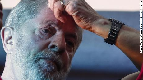 Former Brazilian president Luiz Inacio Lula da Silva is seen during a rally in support of him by trade unionists and members of social movements in Sao Paulo, Brazil on January 24, 2018.  A Brazilian appeals court Wednesday upheld ex-president Luiz Inacio Lula da Silva's conviction for corruption, effectively ending his hopes of reelection this year. Two of the three judges in the appeals court in the southern city of Porto Alegre ruled that his original 9.5-year jail sentence should be extended to more than 12 years.  / AFP PHOTO / Miguel SCHINCARIOL        (Photo credit should read MIGUEL SCHINCARIOL/AFP/Getty Images)