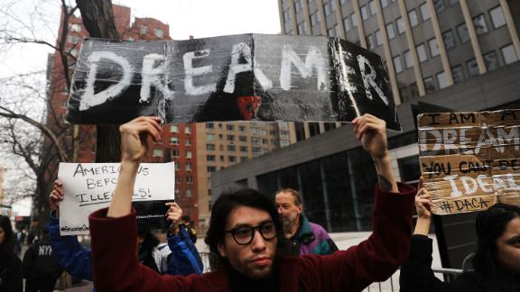 NEW YORK, NY - JANUARY 22:  Demonstrators, many of them recent immigrants to America, protest the government shutdown and the lack of a deal on DACA (Deferred Action for Childhood Arrivals) outside of Federal Plaza on January 22, 2018 in New York City. As the Trump administration continues to focus their attention on deportations and the building of a new wall along the Mexican and American border, Immigration and Customs Enforcement (ICE) arrests are up. From late January through August 2017, arrests by ICE were up more than 43 percent since the same period in 2016.  (Photo by Spencer Platt/Getty Images)