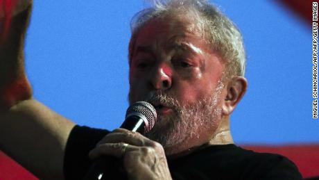 Former Brazilian president Luiz Inacio Lula da Silva speaks during a rally in his support by trade unionists and members of social movements in Sao Paulo, Brazil on January 24, 2018.  A Brazilian appeals court Wednesday upheld ex-president Luiz Inacio Lula da Silva's conviction for corruption, effectively ending his hopes of reelection this year. Two of the three judges in the appeals court in the southern city of Porto Alegre ruled that his original 9.5-year jail sentence should be extended to more than 12 years.  / AFP PHOTO / Miguel SCHINCARIOL        (Photo credit should read MIGUEL SCHINCARIOL/AFP/Getty Images)