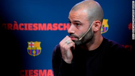 Barcelona's Argentinian defender Javier Mascherano attends a farewell ceremony organised by the football club in Barcelona ahead of his transfter to China on January 24, 2018. Mascherano was unveiled as the latest big name to move to China, signing for Hebei China Fortune from Barcelona. / AFP PHOTO / LLUIS GENE        (Photo credit should read LLUIS GENE/AFP/Getty Images)