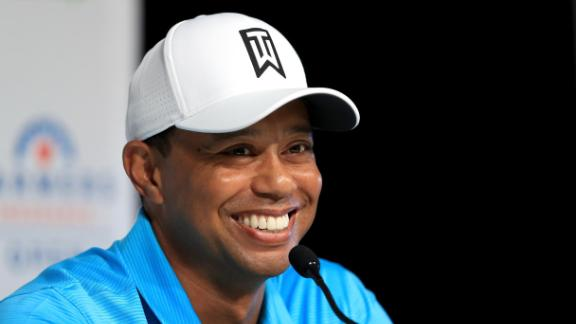 All smiles: Tiger Woods was relaxed as he chatted to the media ahead of his first start of 2018 at Torrey Pines. It was the former world No.1
