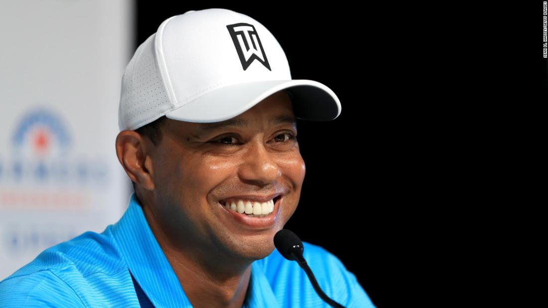 <strong>All smiles:</strong> Tiger Woods was relaxed as he chatted to the media ahead of his first start of 2018 at Torrey Pines. It was the former world No.1's first full-field event on the PGA Tour since missing the cut at the same venue last January.