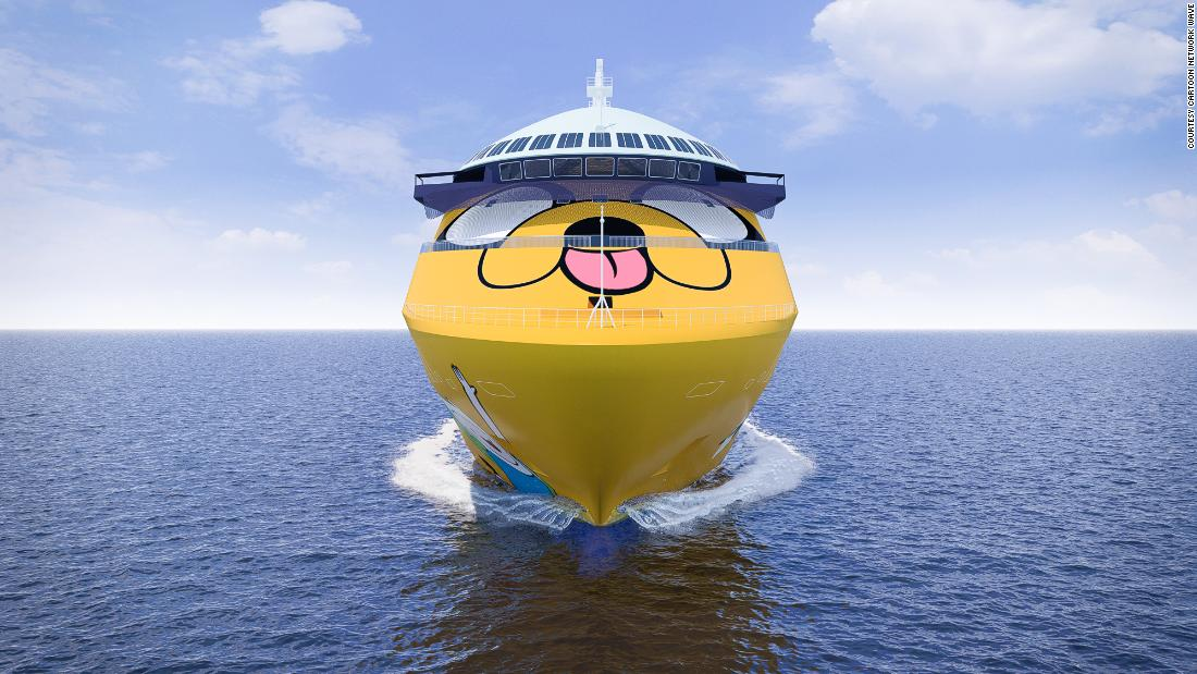 "<strong>Beloved characters:</strong> Cartoon Network favorite Jake the Dog -- star of ""Adventure Time"" -- is the character splashed across the ship. The ship will also highlight other characters like Ben 10 and The Powerpuff Girls. <em>Pictured here: Artist impression of Cartoon Network Wave. All illustrations are subject to change without prior notice.</em>"