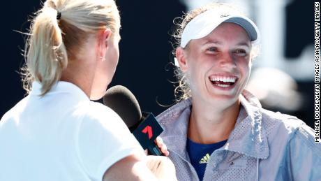 Caroline Wozniacki interviewed on court.