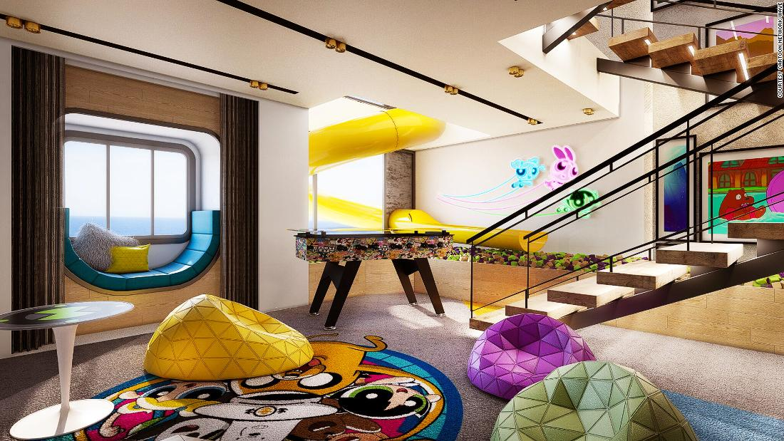 <strong>Amazing rooms:</strong> Triplex Suites will offer a hot tub, family lounge and fun play corner -- and even a slide. <em>Pictured here: Artist impression of the fun play corner in Cartoon Network Wave's Triplex Suite. All illustrations are subject to change without prior notice.</em>