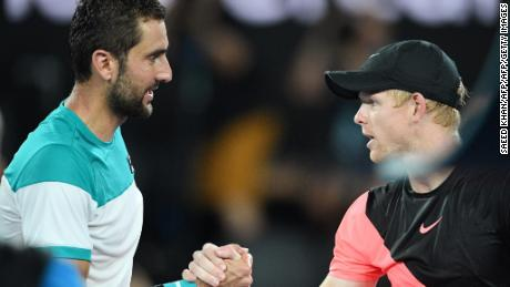 Cilic (left) eased past Edmund to make his first Australian Open final.