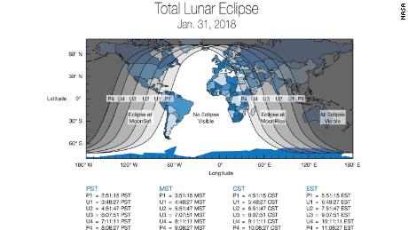 "Global map showing the different timings that areas across the world will be experiencing the ""super blue blood moon"""