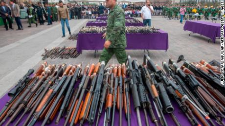 An assortment of weapons from the more than five thousand used in felonies and seized by the Mexican Army from drug traffickers in the states of Tamaulipas and San Luis Potosi, in Monterrey, Mexico, on January 17, 2017.  / AFP / Julio Cesar Aguilar        (Photo credit should read JULIO CESAR AGUILAR/AFP/Getty Images)