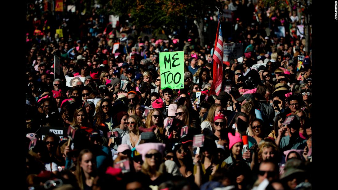 "People gather in Grand Park for the Women's March in Los Angeles on Saturday, January 20. <a href=""http://www.cnn.com/2018/01/20/politics/womens-march-anniversary-trump-shutdown/index.html"" target=""_blank"">One year after</a> women took to the streets to protest the inauguration of US President Donald Trump, marchers gathered again in cities across the country and around the world. This year's marches also come during the #MeToo movement, which has shed light on sexual misconduct across a variety of industries."