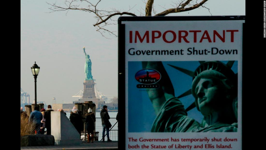 "A sign is seen at the entrance of the Liberty State Park ferry terminal in New York City on Sunday, January 21. The Statue of Liberty and Ellis Island were some of the tourist attractions that closed after the US Senate failed two days earlier to reach a federal government funding agreement. US President Donald Trump <a href=""https://www.cnn.com/2018/01/22/politics/senate-shutdown-vote-congress/index.html"" target=""_blank"">signed a bill to end the government shutdown</a> on Monday, January 22, capping off a nearly three-day deadlock and reinstating funds until February 8."