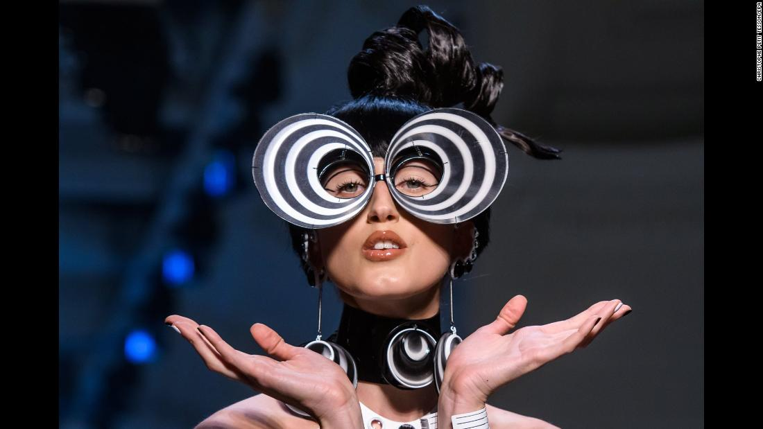 Model Anna Cleveland presents a creation from the Spring-Summer 2018 Haute Couture collection by designer Jean-Paul Gaultier during Fashion Week in Paris on Wednesday, January 24.
