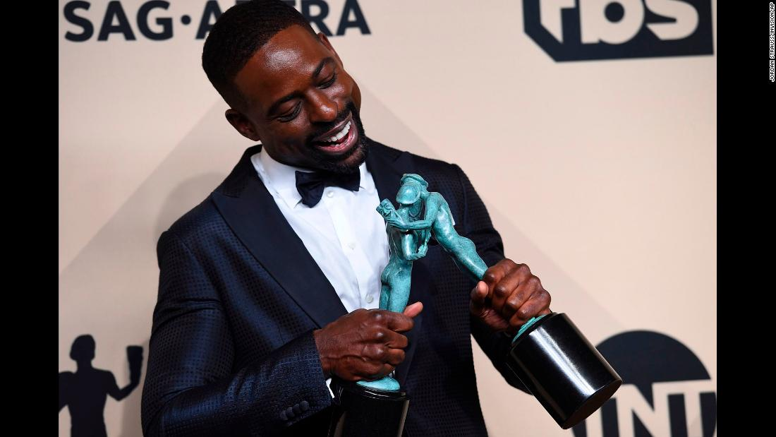 "Actor Sterling K. Brown plays with his Screen Actors Guild awards in Los Angeles on Sunday, January 21. <a href=""https://www.cnn.com/2018/01/22/entertainment/sterling-brown-sag-awards/index.html"" target=""_blank"">The ""This Is Us"" star</a> became the first African-American to win the award for outstanding performance by a male actor in a drama series. ""This Is Us"" also won for outstanding performance by an ensemble in a drama series."