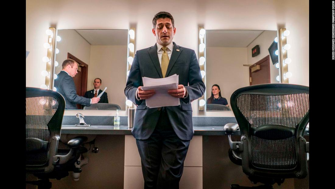 US Speaker of the House Paul Ryan, with a government shutdown looming, prepares for a press conference on Thursday, January 18. The government shut down after midnight on Saturday, January 20, after the US Senate failed to reach a federal government funding agreement.