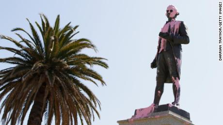 The Captain Cook statue in Catani Gardens in St Kilda is seen vandalised on January 25 in Melbourne, Australia.