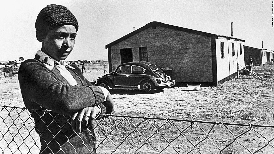 Madikizela-Mandela is pictured in 1977, during her exile in Brandfort, South Africa.