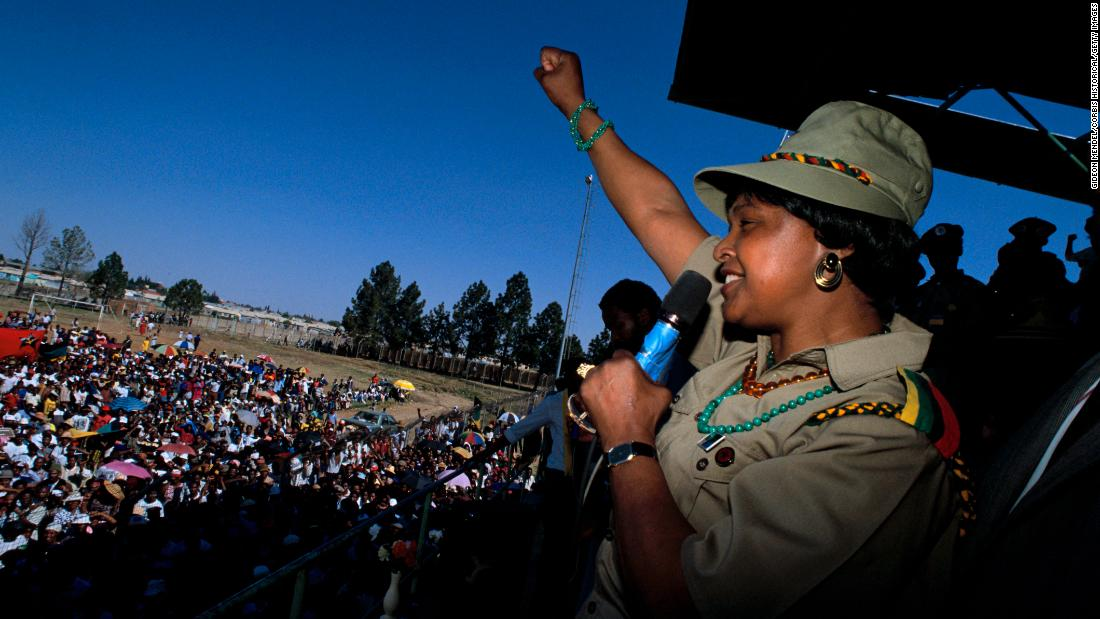 Madikizela-Mandela appears at an African National Congress rally in Soweto.