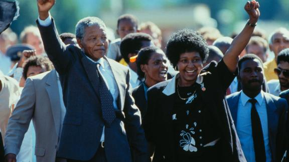 Nelson Mandela is joined by his wife after being released from prison in February 1990.