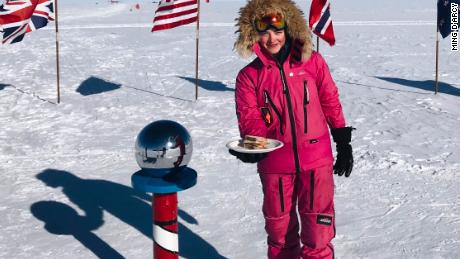 Hameister smiles as she serves her trolls from Antarctica.