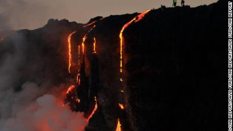 Photographer David Ford got a closeup look at lava from Kilauea Volcano during a sunrise boat tour. He says the boat sailed within 200 feet of the lava flow.