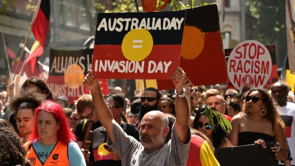 """People take part in an """"Invasion Day"""" rally on Australia Day in Melbourne, August 26, 2018."""