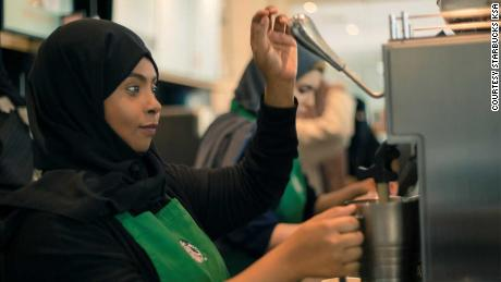 Manal Ghazwan manages a Starbucks branch located in Saudi capital Riyadh that serves both men and women.