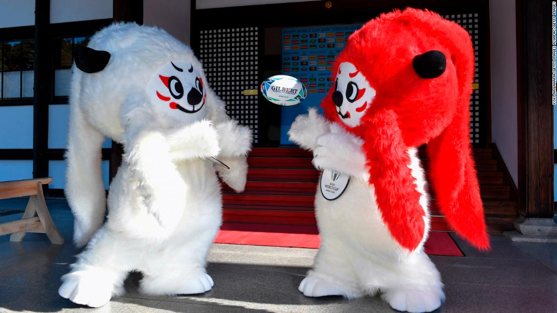 """Ren"" and ""G"" are unveiled as the mascots for the 2019 Rugby World Cup in Japan."