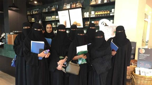 Saudi women train to become baristas at the Starbucks headquarters in Riyadh.