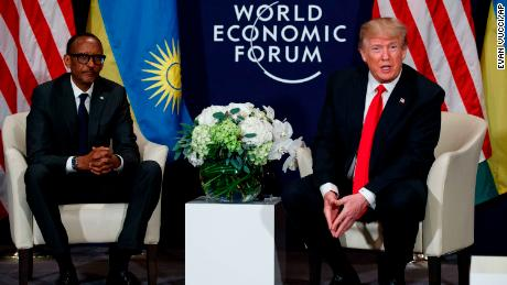 U.S. President Donald Trump meets with Rwandan President Paul Kagame, left, at the World Economic Forum, Friday, Jan. 26, 2018, in Davos, Switzerland. (AP Photo/Evan Vucci)